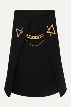 Bottega Veneta Chain-embellished Cashmere-gabardine Skirt - Black