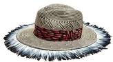 Etro Feather-trim straw hat