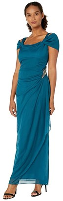 Alex Evenings Long Cold Shoulder Dress with Cowl Neckline (Deep Teal) Women's Dress