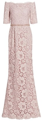Teri Jon by Rickie Freeman Off-the-Shoulder Embellished Lace Gown