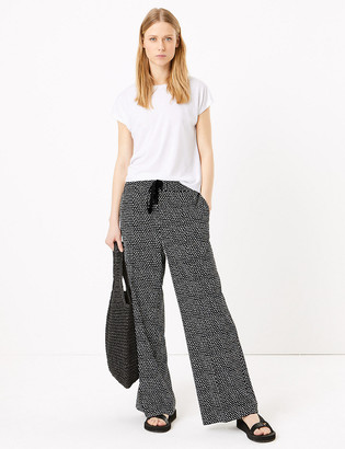 Marks and Spencer Printed Drawstring Wide Leg Trousers