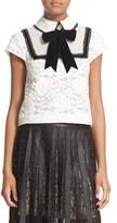 Alice + Olivia 'Vanetta' Pintuck Bib Lace Shirt with Velvet Bowtie