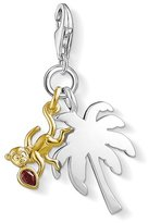 Thomas Sabo Women-Charm Pendant Palm tree with monkey Charm Club 925 Sterling Silver 18k yellow gold Zirconia red 1348-414-10