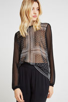 BCBGeneration Bandana Print Knit-Back Top - Black