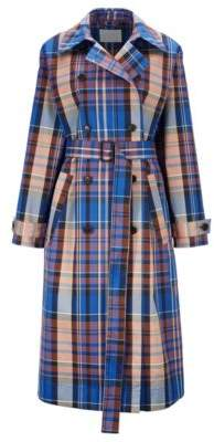 Checked trench coat with double-breasted closure