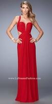 La Femme Plunging Sweetheart Open Back Prom Dress