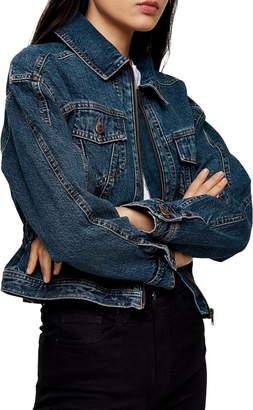 Topshop Peplum Denim Jacket
