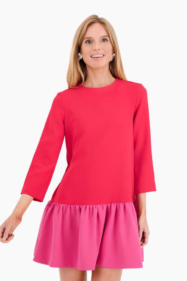 Edit Red Color Block Sutton Peplum Dress