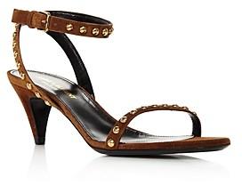 Saint Laurent Women's Kiki Studded Strap Mid-Heel Sandals