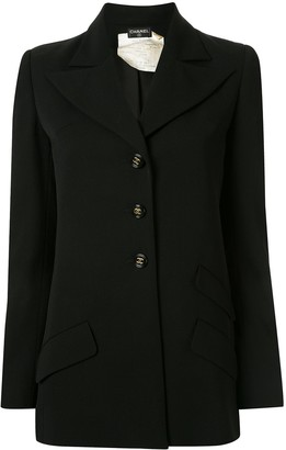 Chanel Pre Owned Peaked Lapels Slim-Fit Blazer