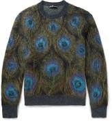 Alexander McQueen Peacock-Intarsia Mohair-Blend Sweater