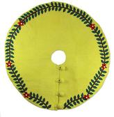 Green Wool Applique Christmas Tree Skirt, 'Tropical Holiday'