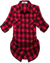 OCHENTA Women's Mid Long Style Roll Up Sleeve Plaid Flannel Shirt Label 5XL - US XL