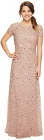 Adrianna Papell Petite Short Sleeve Scoop Back Fully Beaded T-Shirt Gown