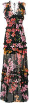 Pinko floral print frill trim maxi dress