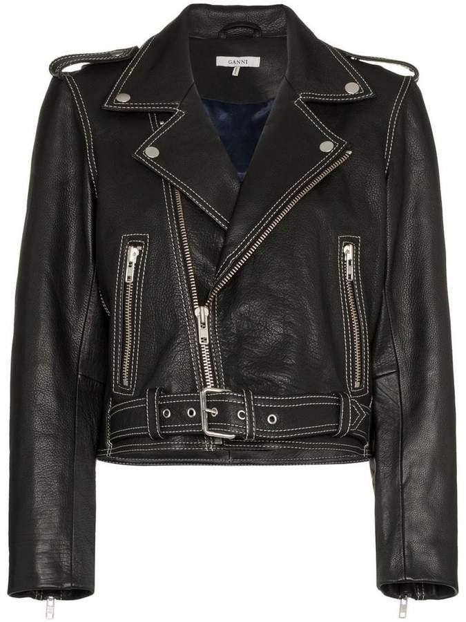 Ganni Angela Leather Biker Jacket