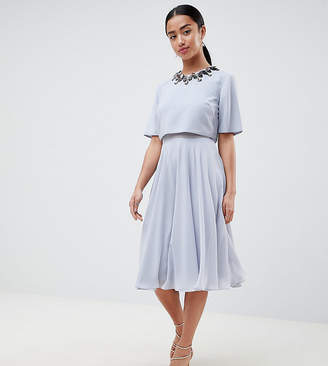 Asos DESIGN Petite 3D embellished crop top midi skater dress-Multi