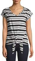 Lord & Taylor Striped Tie Cotton Tee