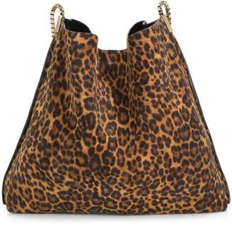 Saint Laurent Chain Strap Leopard-Print Hobo Bag