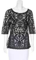 Laundry by Shelli Segal Mesh Embroidered Top