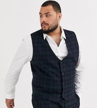 ASOS DESIGN Plus super skinny suit suit vest in blackwatch plaid check in navy