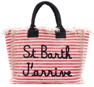 MC2 Saint Barth Embroidered Logo Striped Tote Bag