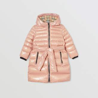 Burberry Childrens Icon Stripe Detail Down-filled Hooded Puffer Coat
