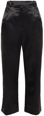ALEXACHUNG Cropped Satin Straight-leg Pants