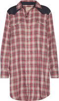 Current/Elliott The Western denim-paneled plaid flannel mini shirt dress