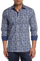 Bugatchi Men's Shaped Fit Optical Dot Print Sport Shirt