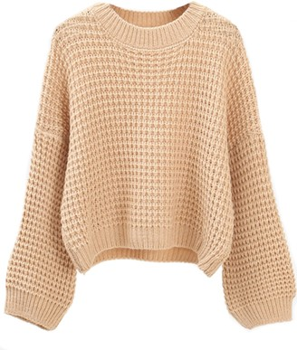 Goodnight Macaroon 'Gretta' Crew Neck Waffle Knit Cropped Sweater (4 Colors)