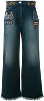 Valentino bead patch wide leg jeans - women - Cotton/Polyester/Metallic Fibre/Polyimide - 28