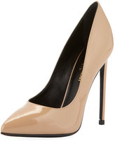 Saint Laurent Paris Patent Leather Pump, Nude