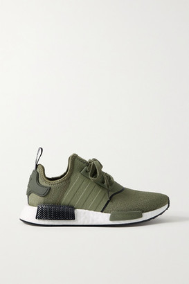 adidas Nmd R1 Rubber-trimmed Stretch-knit Sneakers - Army green