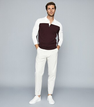 Reiss Ruffano - Press Stud Colour Block Polo Shirt in Ecru/bordeaux