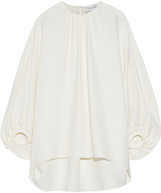 Oscar de la Renta Gathered Silk-blend Crepe Top