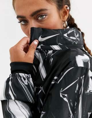 Nike Running aeroshield zip through jacket in black and reflective print