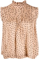 Ganni polka dot sleeveless blouse