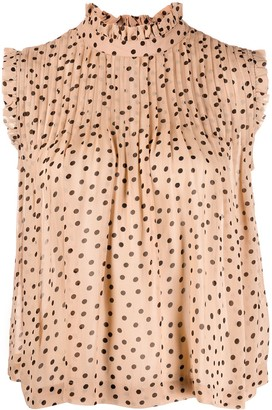 Ganni polka dot sleeveless blouse