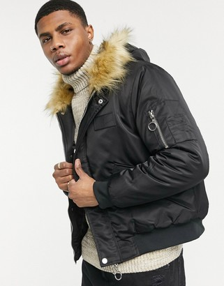 The Couture Club dakota faux fur hooded bomber jacket