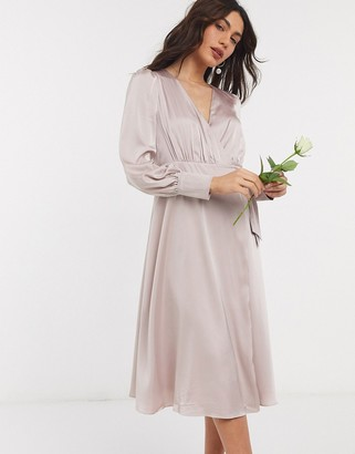 TFNC bridesmaid long sleeve wrap front sateen midi dress with belt in pink