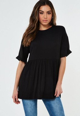 Missguided Tall Black Smock T Shirt