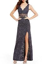 B. Darlin Illusion-Detailed Long Lace Dress