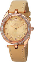 Burgi Womens Diamond-Accent Rose-Tone Bezel Tan Leather Strap Watch