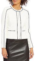 Calvin Klein Petites Luxe Stretch Pipe Trim Jacket