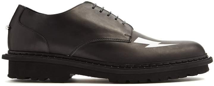 Neil Barrett Lightning-bolt leather derby shoes
