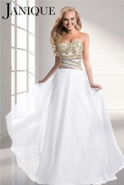 Janique - Beaded Strapless Sweetheart A-Line Chiffon Gown W319