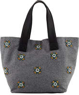 Neiman Marcus Large Crystal-Embellished Wool Tote Bag, Gray
