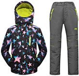 Mingao Big Girls' Thicken Warm Hooded Ski Snowsuit Jacket +Pants Two-piece Set