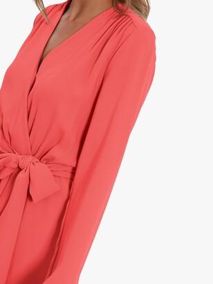 Gina Bacconi Junie Wrap Tie Dress, Coral